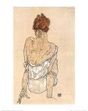 Siddende kvinde på tæppet Poster af Egon Schiele