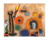 Libelle Mit Roten Flugeln Eine Schlange Jagend Plakat av Joan Miró