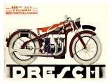 Dresch 1935 500CC Motorcycle Reproduction procédé giclée