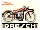 Dresch 1935 500CC Motorcycle - Giclee Baskı