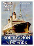 White Star Line, Southampton, Cherbourg, New York Giclee Print by Walter Thomas