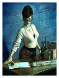 Pin-Up Girl: Quiet Please Librarian Giclee Print by Richie Fahey