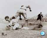 Ty Cobb - Sliding into base, sepia Photo