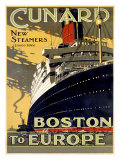 Lignes Cunard, de Boston à l'Europe Reproduction procédé giclée