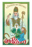 St. Patrick with Shamrock & Crozier Art Print
