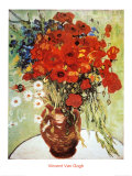 Vase avec marguerites et coquelicots Affiches par Vincent van Gogh