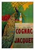Cognac Jacquet - Affiche vintage avec paon Art par Camille Bouchet