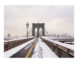 Brooklyn Bridge Snow Day Giclee Print by New Yorkled