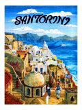 Santorini Island, Greece Giclee Print by Caroline Haliday