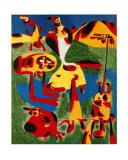 Personnages et Montagnes, c.1936 ポスター : ジョアン・ミロ