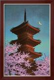 Pagoda in Moonlight Art by Kawase Hasui