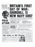 Britain's First Day of War: Churchill is New Navy Chief Giclee Print