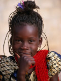Portrait of Young Girl, Langue De Barbarie National Park, St. Louis, Senegal Fotografisk tryk af Ariadne Van Zandbergen