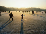 Ice Hockey on Frozen Katzensee Lake, Zurich, Switzerland Photographic Print by Martin Moos