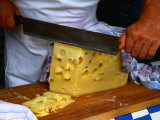 Slicing of Block of Cheese, Freising, Germany Photographic Print by Wayne Walton