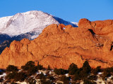 Gateway Rock Garden of the Gods Park with Pikes Peak in Background, Colorado Springs, U.S.A. Photographic Print by Curtis Martin
