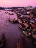 Sunrise on Mekong River, Outside Saigon, Ho Chi Minh City, Vietnam, Photographic Print