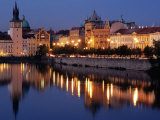 Lights Reflecting on Vltava River at Smetanova Embankment, Prague, Czech Republic Photographic Print by Richard Nebesky