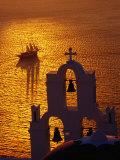 Sailing Ship and Church Bells at Sunset, Greece Fotografisk tryk af Izzet Keribar