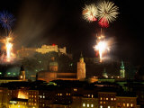 Fireworks Over City, Salzburg, Austria Photographic Print by Thomas Winz