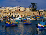 Luzzus, Traditional Fishing Boats Moored in Harbour, Marsaxlokk, Malta Photographic Print by Craig Pershouse