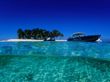 Dive Boats off Island, South Water Caye, Stann Creek, Belize Photographic Print by Mark Webster