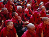 Nuns and Monks at Dalai Lama Sermon in Choglamsar, Ladakh, India Photographic Print by Richard I'Anson