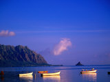 Boats on Kanehoe Bay with Chinaman's Hat in the Distance, Kaneohe, U.S.A. Photographic Print by Ann Cecil