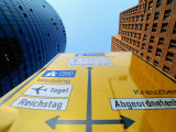 Traffic Sign Between Sony Center (Left) and Another High-Rise, Potsdamer Strasse, Berlin, Germany Photographic Print by Martin Moos