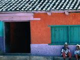 Two Mayan Boys Sitting in Front of House, Todos Santos Cuchumatan, Guatemala Photographic Print by Jeffrey Becom
