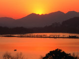 Sunset Over West Lake in Hangzhou, Hangzhou, Zhejiang, China Photographic Print by Keren Su
