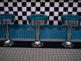 Stools at Classic Diner with Checkerboard Tiling, New Mexico, USA Photographic Print by Ralph Lee Hopkins