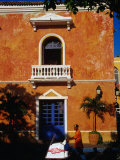Colonial Building in Cartagena's Old City, Cartagena, Bolivar, Colombia Photographic Print by Krzysztof Dydynski