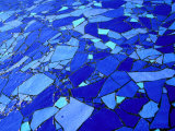 Blue-Glass Mosaic with Water Flowing Over Surface, Helsingborg, Skane, Sweden Photographic Print by Martin Lladã³