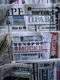 Russian Newspapers, Including Pravda and Moscow Evening News, at Newsstand, Moscow, Russia Photographic Print by Jonathan Smith