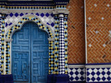 Tiled Facade of the Church of the Virgin of the Assumption in Libres, Puebla, Mexico Photographic Print by Jeffrey Becom