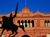 Equestrian Statue of General Manuel Belgrano in Front of Government House, Buenos Aires, Argentina Photographic Print by Krzysztof Dydynski