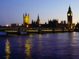 Big Ben, Houses of Parliament and River Thames at Dusk, London, England Photographic Print by Richard I&#39;Anson