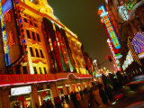 Coloured Lights on Nanjing Lu Buildings, Shanghai, China Photographic Print by Ray Laskowitz