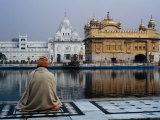 Sikh Man Meditating in Front of the Golden Temple, Amritsar, India Fotografie-Druck von Anthony Plummer