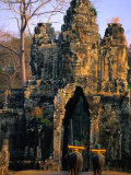Elephants Outside the South Gate at Angkor Thom, Angkor, Cambodia Photographic Print by Anders Blomqvist