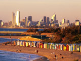 Brighton Beach Boatsheds with City in Background, Melbourne, Australia, Photographic Print