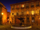 Renaissance Facades and Fountain in Place d'Alberetas at Night, Aix-En-Provence, France Photographic Print by Diana Mayfield