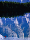 Kayaking on Lake Minewanka, Banff National Park, Alberta, Canada Photographic Print by Lawrence Worcester