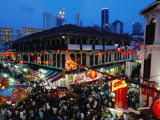 Chinatown District at Dusk, Singapore, Singapore Photographic Print by Michael Coyne