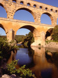 Pont Du Gard from Riverbank, Languedoc-Roussillon, France Photographic Print by Diana Mayfield