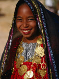 Girl in Traditional Dress at Sahara Festival, Looking at Camera, Douz, Tunisia Photographic Print