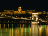 The Szechenyi Chain Bridge and the Royal Palace at Night, Budapest, Hungary Photographic Print by Jonathan Smith