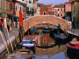 Canal Lined by Colourful Houses, Venice, Burano, Veneto, Italy Photographic Print by Roberto Gerometta