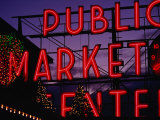 Pike Place Market Neon Sign, Seattle, Washington, USA Photographic Print by Lawrence Worcester